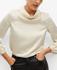 Women's High Collar Satin Blouse
