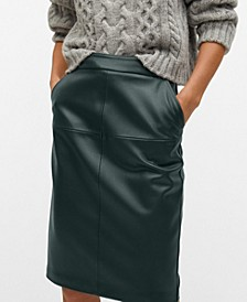 Women's Faux-Leather Pencil Skirt