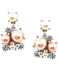 Silver-Tone Crystal & Colored Imitation Pearl Cluster Drop Earrings, Created for Macy's