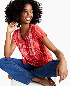 Embroidered Striped Top, Created for Macy's