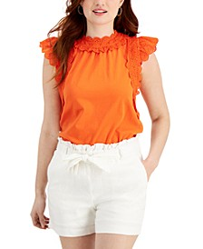 Petite Eyelet-Trim Top, Created for Macy's