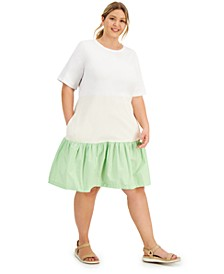 Plus Size Mixed-Media Dress, Created for Macy's