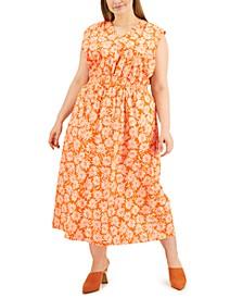 Plus Size Printed Smocked-Waist Midi Dress, Created for Macy's