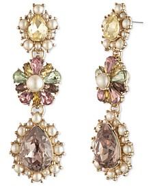 Gold-Tone Cubic Zirconia & Imitation Pearl Flower Linear Drop Earrings