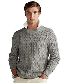 Men's Big & Tall Cable-Knit Cotton Sweater