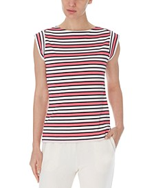 Striped Cap-Sleeve Top