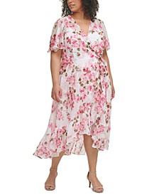 Plus Size Floral-Print Asymmetrical Surplice Dress