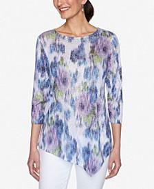 Women's Misses Knit Warp Floral Top