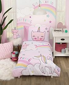 The Caticorn Girl Power 4 Piece Toddler Bedding Set