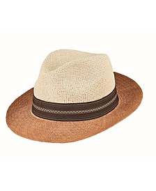Men's Cut and Sew Straw Fedora Hat