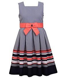 Big Girls Sleeveless Border Striped Dress