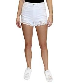Juniors' Lace-Hem Denim Shorts