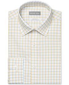 Men's Classic/Regular-Fit Non-Iron Airsoft Performance Stretch Lemon Glaze Check Dress Shirt