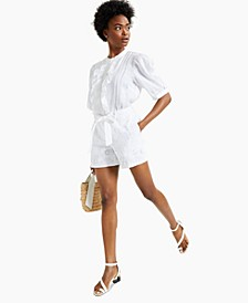 Cotton Tie-Belt Eyelet Shorts, Created for Macy's