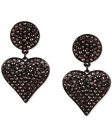 Pavé Heart Drop Earrings