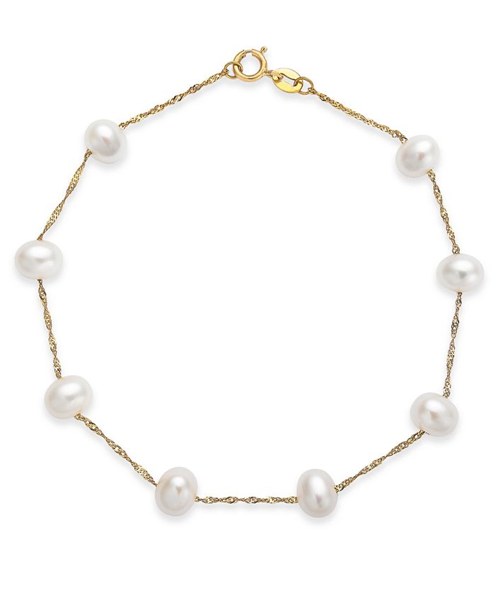 EFFY Collection - Cultured Freshwater Pearl Station Bracelet (5-1/2-6mm) in 14k Gold (Also available in 14k White Gold and 14k Rose Gold)