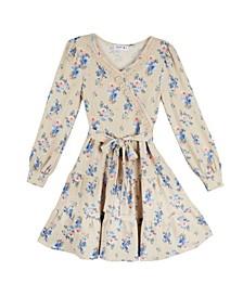 Big Girls Floral Wrap Belted Dress