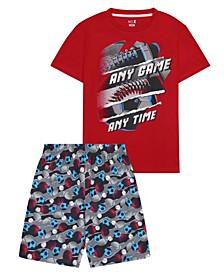 Big Boys Sports Theme 2 Piece Short Pajama Set