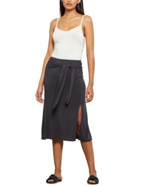 Bcbgmaxazria Tie-front Midi Skirt In Black