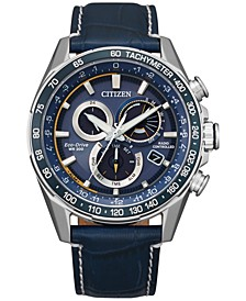 Eco-Drive Men's Chronograph PCAT Blue Leather Strap Watch 43mm