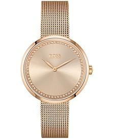 Women's Praise Carnation Gold Ion-Plated Steel Mesh Bracelet Watch 36mm