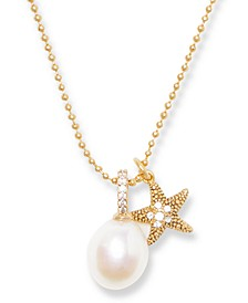 """Gold-Tone Cubic Zirconia Starfish & Freshwater Pearl (9mm) Pendant Necklace, 16"""" + 3"""" extender"""