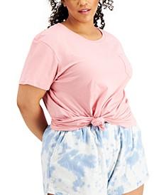 Trendy Plus Size Cotton Pocket T-Shirt