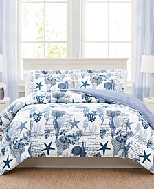 Sea Life Navy 3-Pc. Reversible King Comforter Set, Created for Macy's