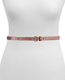 Women's Embroidered Leather Skinny Belt 18MM