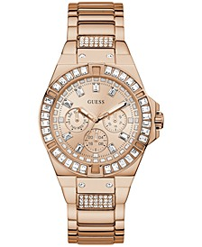 Unisex Crystal Rose Gold-Tone Stainless Steel Bracelet Watch 39mm