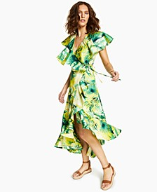 INC Tropical-Print Ruffle Wrap Dress, Created for Macy's