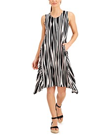 Striped Asymmetrical-Hem Tank Dress