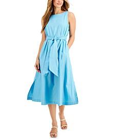 Linen-Blend Tie-Sash Midi Dress