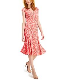 Julie Leaf-Printed Sleeveless Midi Dress