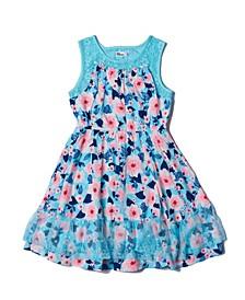 Big Girls All Over Print Lace Challis Dress