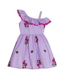 Toddler Girls Embroidered Gingham Dress