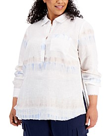 Plus Size Linen Frayed-Hem Popover Shirt, Created for Macy's