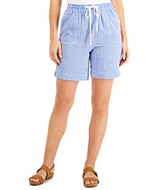 Petite Gingham Cotton Drawstring Shorts, Created for Macy's