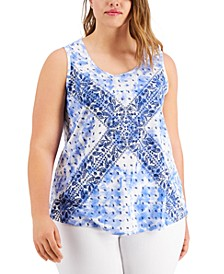 Plus Size Printed Tank Top, Created for Macy's