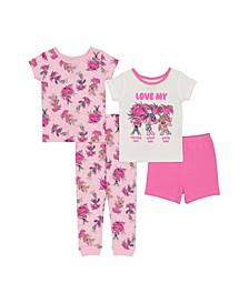 Trolls Toddler Girls 4 Piece Cotton Pajama Set
