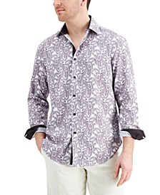 Men's Slim-Fit Non-Iron Performance Stretch Paisley-Print Dress Shirt with Pleated Face Mask