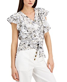 INC Floral-Print Wrap-Style Cotton Top, Created for Macy's