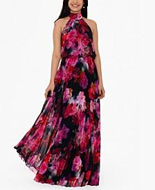 Floral-Print Chiffon Halter Gown