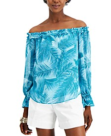 INC Plus Size Printed Off-The-Shoulder Top, Created for Macy's