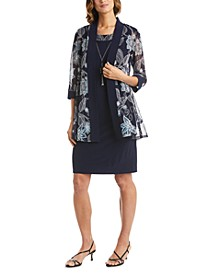 Petite Printed 2-Pc. Dress & Mesh Jacket