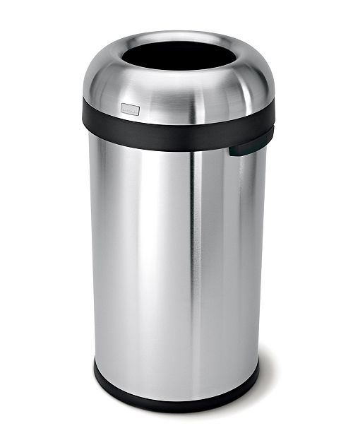 simplehuman Brushed Stainless Steel 60 Liter Open Trash Can