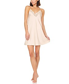 Kit Matte Heart Lace Charmeuse Chemise Nightgown