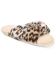 Women's Faux-Fur Animal-Print Crossband Slippers, Created for Macy's