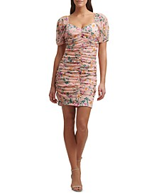 Printed Lace Ruched Sheath Dress