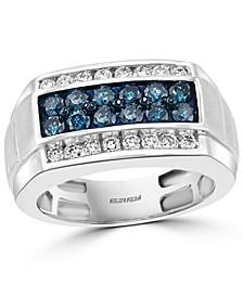 EFFY® Men's Blue Diamond (7/8 ct. t.w.) & White Diamond (1/2 ct. t.w.) Ring in 14k White Gold